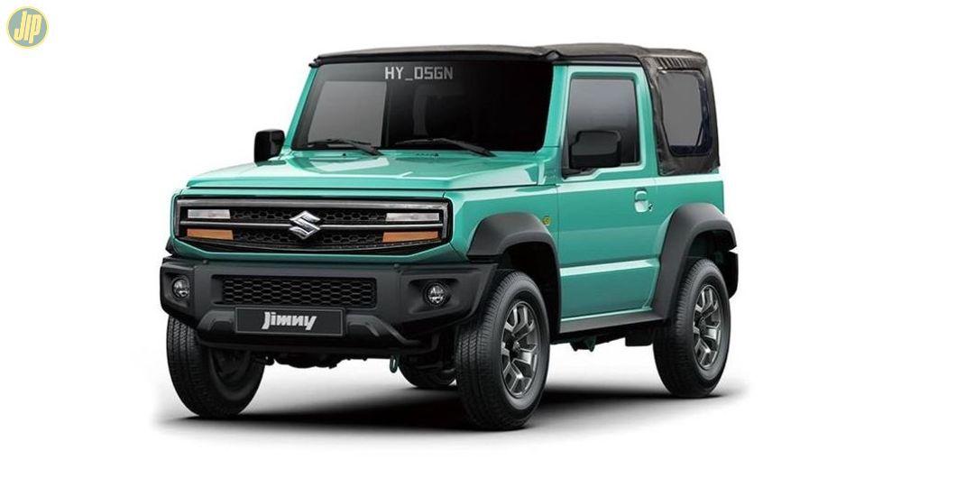 Modifikasi digital Suzuki Jimny dengan wajah sipit