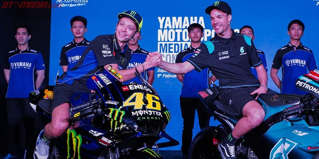 Valentino Rossi dan Franco Morbidelli pada acara Yamaha Motorsports Media Conference 2019
