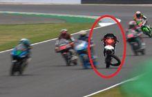 video detik-detik ai ogura crash di moto3 prancis, tubuh terpelanting dan ban copot