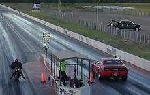 video drag race dodge challenger vs kawasaki ninja zx-14r, menang motor atau mobil?