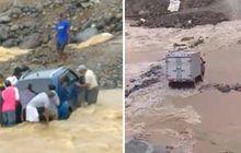 Jembatan Hancur Akibat Banjir Tak Kunjung Dibangun, Video Suzuki Ignis dan Mobil Boks Terjebak Di Tengah Sungai Bikin Deg-deg Serrrr...!