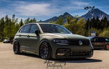 VW Tiguan Klimis Berjubah Hijau, Peleknya Unik, Kandas Pasang Airsus