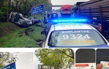 Saling Salip di Bahu Jalan, Gran Max dan Ayla Terlempar dan Kucel di Tol Tangerang-Merak