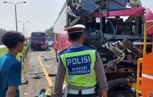 Empat Bus Peziarah Saling Tumbuk di Tol Tangerang-Merak, 1 Tewas Dan 19 Terluka