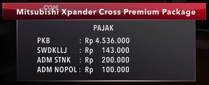 Pajak Mitsubishi Xpander Cross