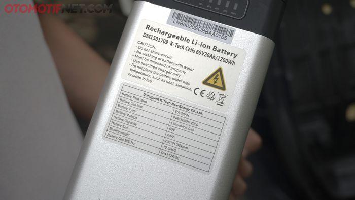 Baterai Rakata X5, speknya 60 volt 20 Ah