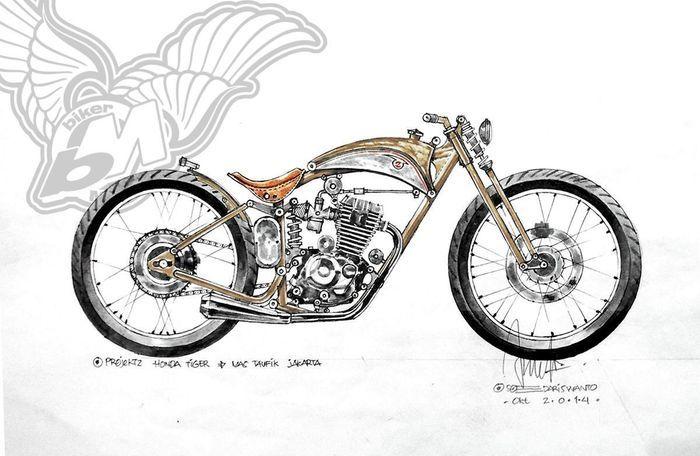 Design awal Honda Tiger bobber ini