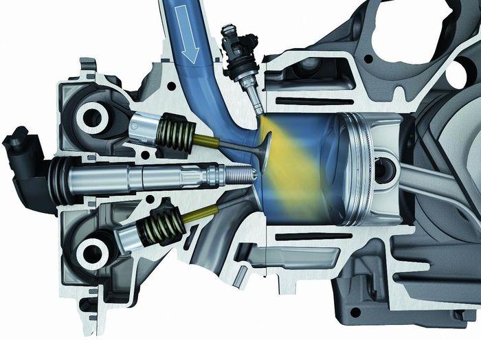 Ilustrasi pembakaran di mesin bensin