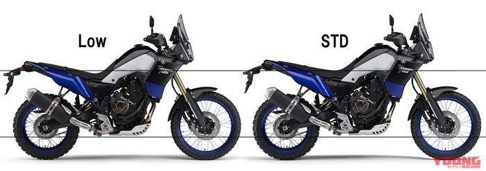 Perbandingan tinggi Yamaha Tenere 700 versi Low dan STD.