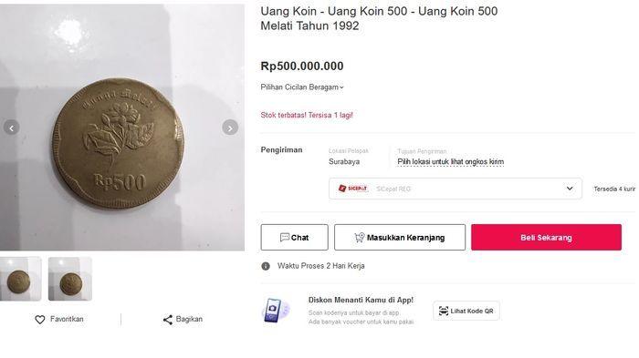Uang koin Rp 500 bergambar bunga Melati dijual di platform belanja online sebesar Rp 500 juta.