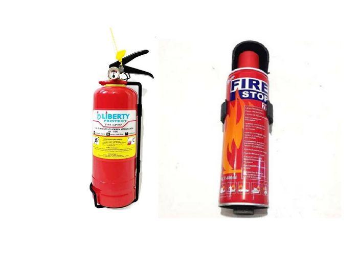Illustrasi APAR Dry Chemical (kiri) dan APAR Busa (kanan)