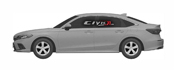 Tampak samping desain Honda Civic sedan generasi terbaru