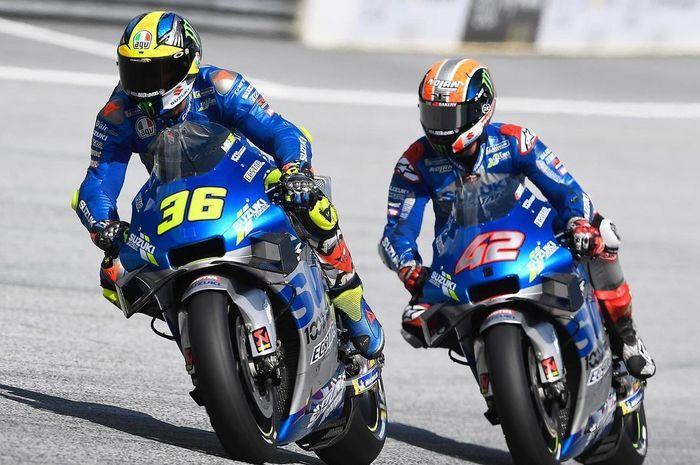 Pembalap tim Suzuki Ecstar MotoGP, Joan Mir dan Alex Rins.