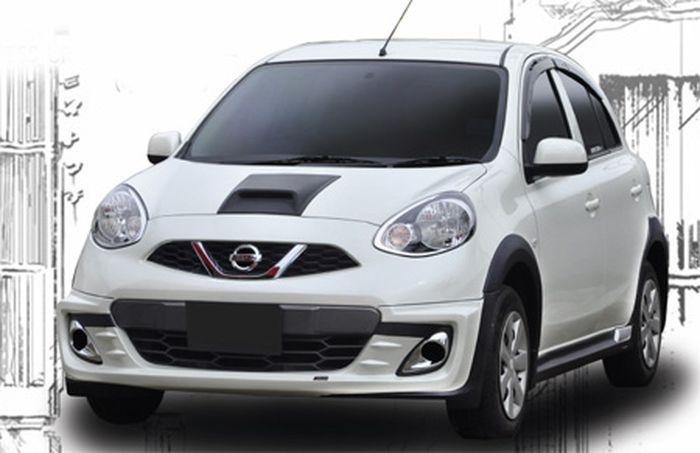 Tampilan depan Nissan March pasang body kit buatan Zercon
