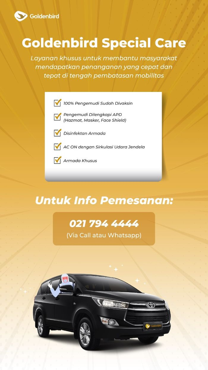 Informasi pemesanan layanan Goldenbird Special Care