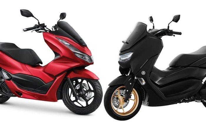 Ilustrasi motor matic baru Honda PCX 160 dan Yamaha NMAX