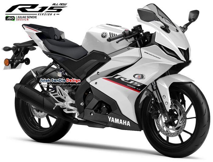 Yamaha YZF-R15 generasi ke-4 versi digimod karya Julak Sendie Design (JSD) warna putih