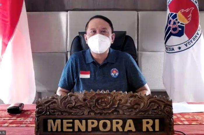 Zainudin Amali, Menteri Pemuda dan Olahraga (Menpora) Indonesia saat memberikan konfrensi pers virtual (8/10)