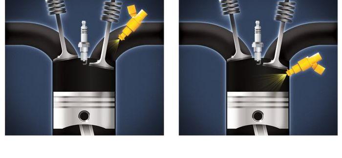Sistem injeksi konvensional (kiri) dan direct injection (kanan)