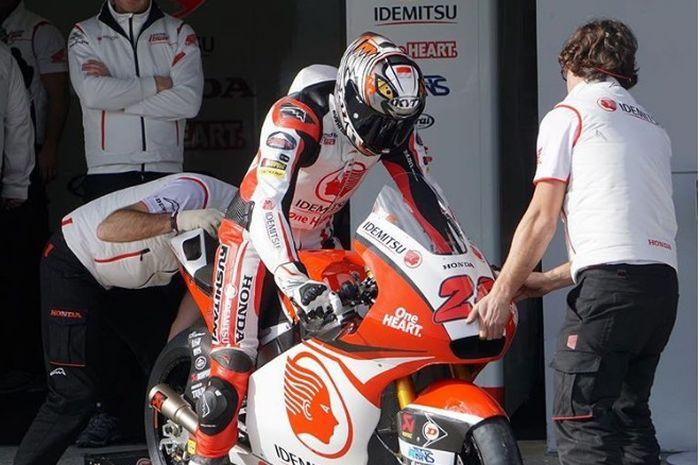Dimas Ekky Pratama saat tes pribadi Moto2 di sirkuit Jerez, Spanyol