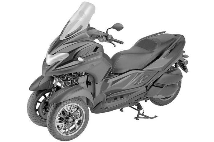 Gambar paten Yamaha 3CT terlihat berbasis XMAX