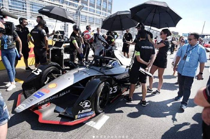 Anies Baswedan saat berada di starting grid Formula E Amerika Serikat di Kota New York (13/7)