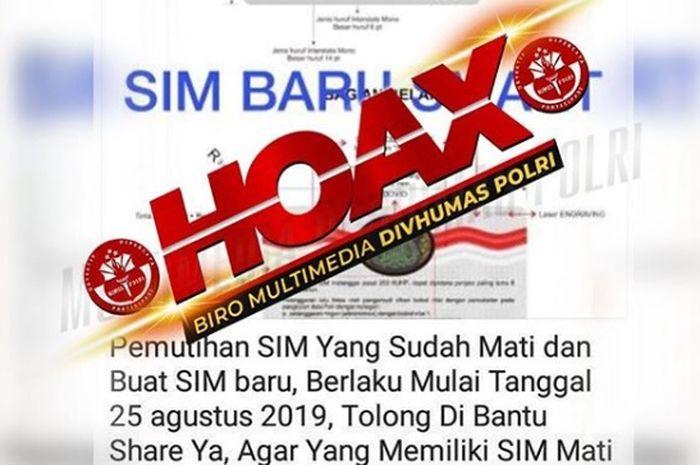 Beredar berita pemutihan SIM adalah Hoax!