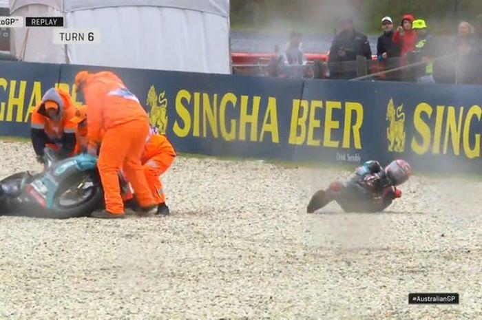 Fabio Quartararo alami crash highside di sesi FP1 MotoGP Australia Jumat (25/10)