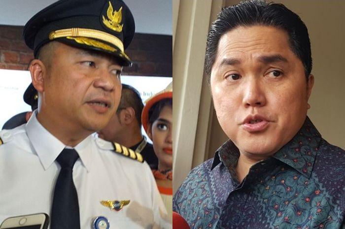 Dirtu Garuda Indonesia I Gusti Ngurah Askhara Danadiputra dan Menteri BUMN Erick Tohir