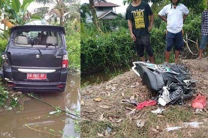 Suzuki APV dinas dikendarai pelajar 16 tahun menabrak motor yang ditumpangi ibu dan anak hingga tewas