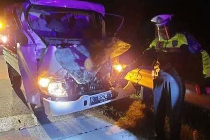 Kondisi Mobil Pikap N-8628-EE yang terlibat kecelakaan di Tol Ngawi-Solo, KM 552/A, Rabu (10/6/2020) dini hari.
