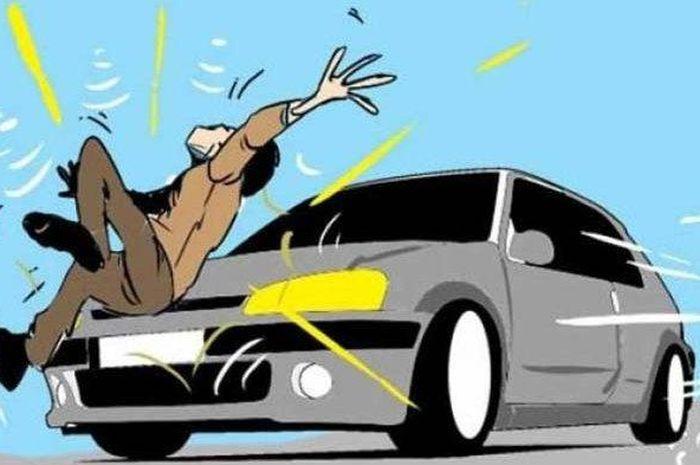 ILUSTRASI kecelakaan ditabrak mobil