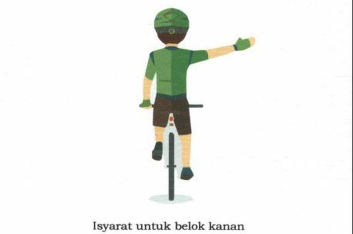 Isyarat pesepeda untuk belok ke kanan