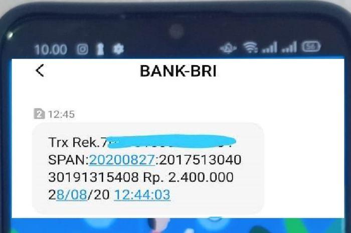 SMS dari Bank BRI pemberitahuan bantuan pemerintah Rp 2,4 juta masuk ke rekening. Mesti tahu cara pencairannya