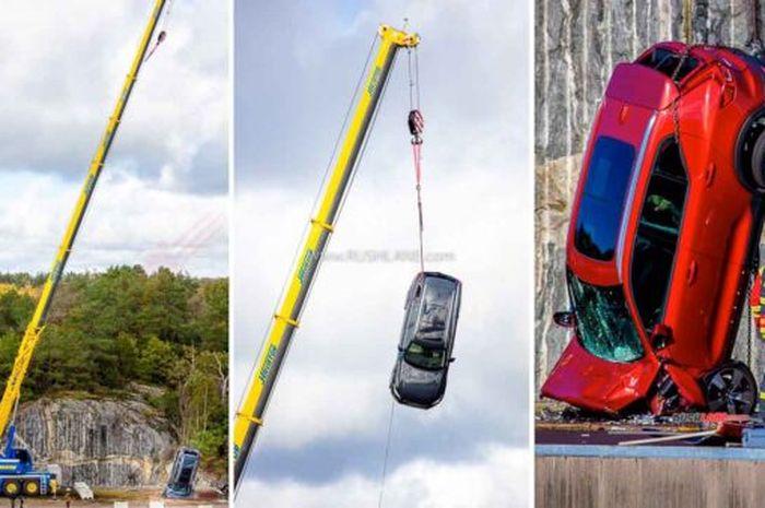 sebanyak 10 unit mobil baru Volvo dijatuhin dari ketinggian 30 meter, kok tega?