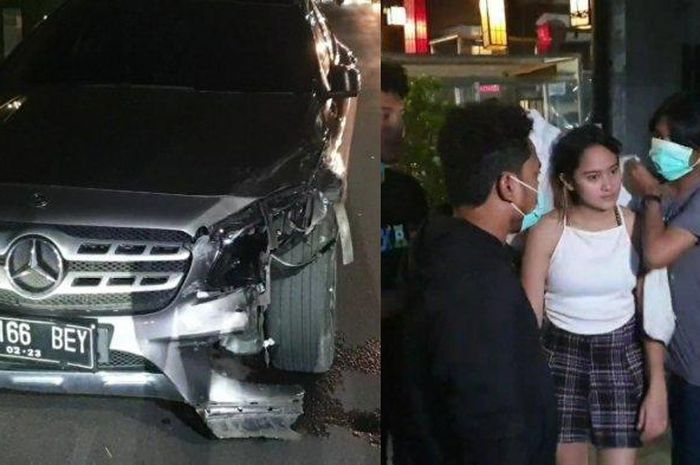 Mobil artis Salshabilla Adriani yang menabrak dua kendaraan di Kemang, Jakarta Selatan, Selasa (15/12/2020) malam