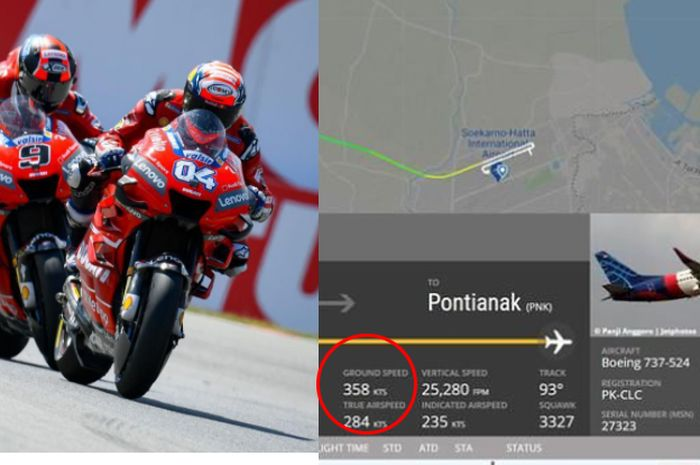 Top speed MotoGP lebih pelan dari pesawat Sriwijaya Air SJ-182, segini perbedaanya.