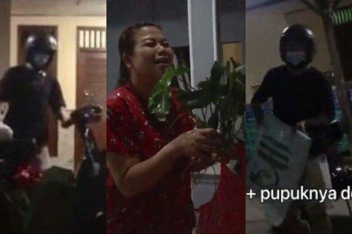 Muhammad Ridzky Indra membawa tanaman dan pupuk saat datang ke rumah pacarnya.