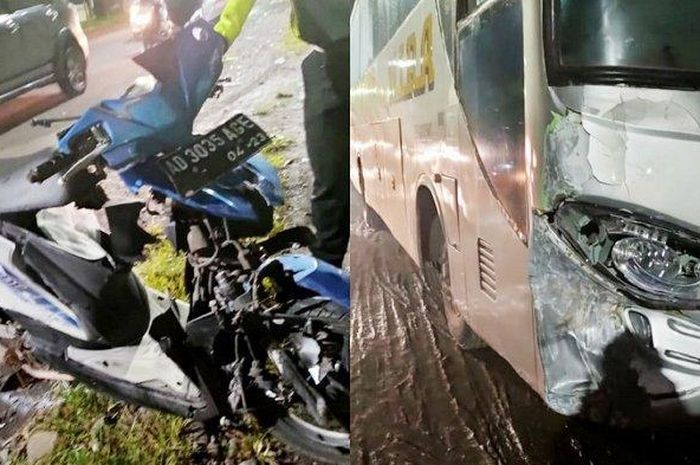 Pengendara Honda BeAT meninggal di tempat  bertabrakan dengan Bus Mira .