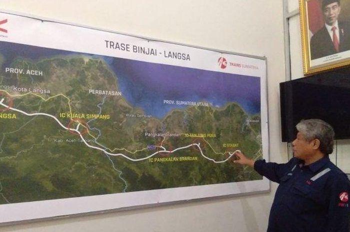Peta proyek pembangunan jalan tol Binjai-Langsa.
