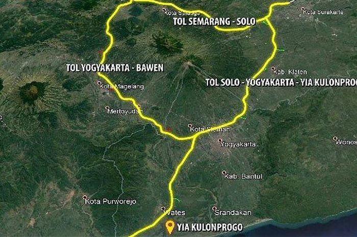 Ilustrasi ruas Jalan Tol Yogyakarta-Solo, Yogyakarta-Bawen dan Yogyakarta-Kulonprogo.