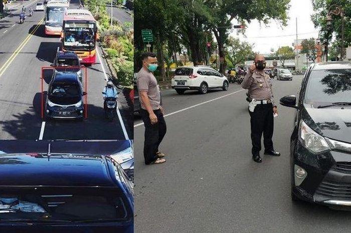 Kolose Toyota Calya yang tertangkap kamera CCTV ETLE dan saat diberhentikan petugas karena diduga menggunakan pelat palsu.