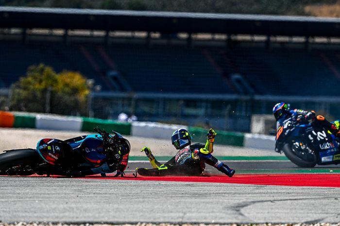 Crash Valentino Rossi di MotoGP Portugal 2021
