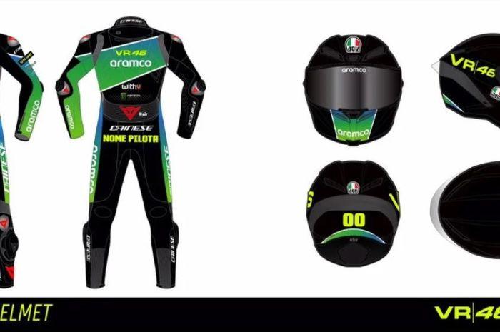 Desain untuk racing suit Aramco VR46