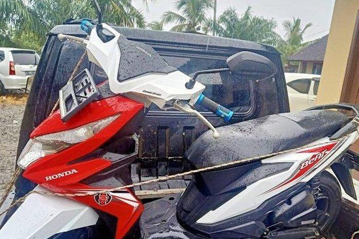 Barang bukti kasus pencurian sepeda motor diamankan di Mapolres Pandeglang, Selasa (9/3/2021). (Dok Polres Pandeglang)