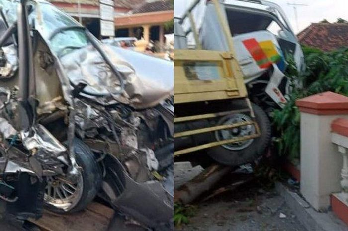 Kondisi Honda City dan truk muatan drum air berisi ikan setelah mengalami kecelakaan.