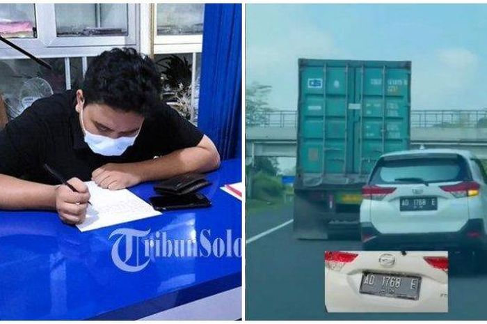 Pengemudi mobil saat berada di kantor Polisi dan Video viral aksi ugal-ugalan mobil berpelat AD.