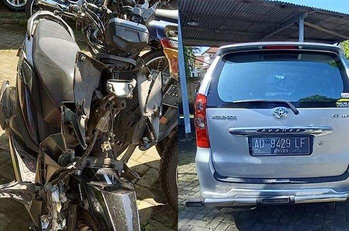 Honda BeAT Street dan Toyota Avanza yang terlibat kecelakaan di Karanganyar, Jawa Tengah