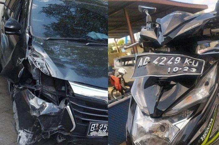 Kondisi Toyota Avanza dan motor yang mengalami kecelakaan.