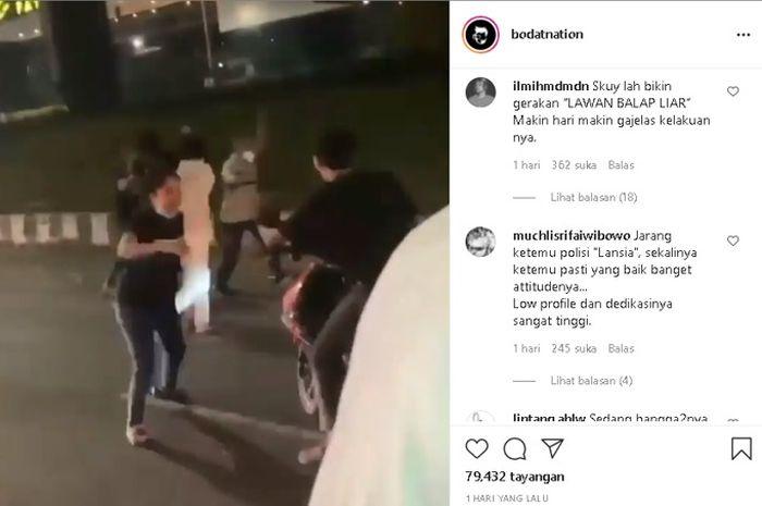 Aksi balap liar yang dibubarkan berujung pengeroyokan kepada polisi